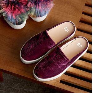 BP velvet backless loafers (wine)